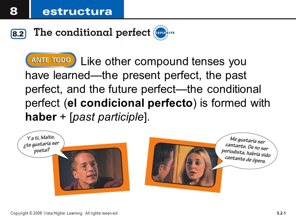 Like other compound tenses you have learned—the present perfect, the past perfect, and the future perfect—the conditional perfect (el condicional perfecto) is formed with haber + [past participle].